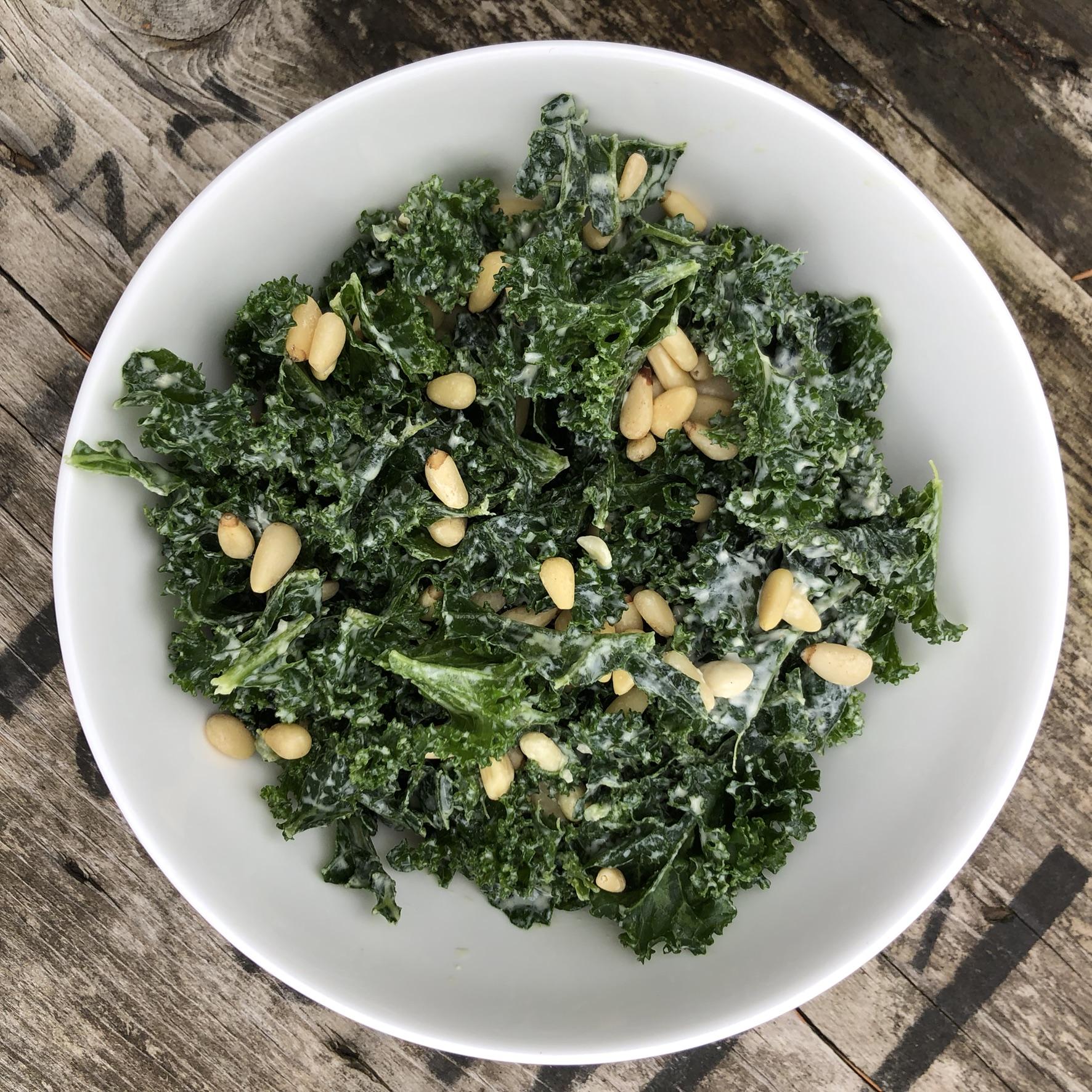 Simple & Quick Kale, Tahini & Pine Nut Salad