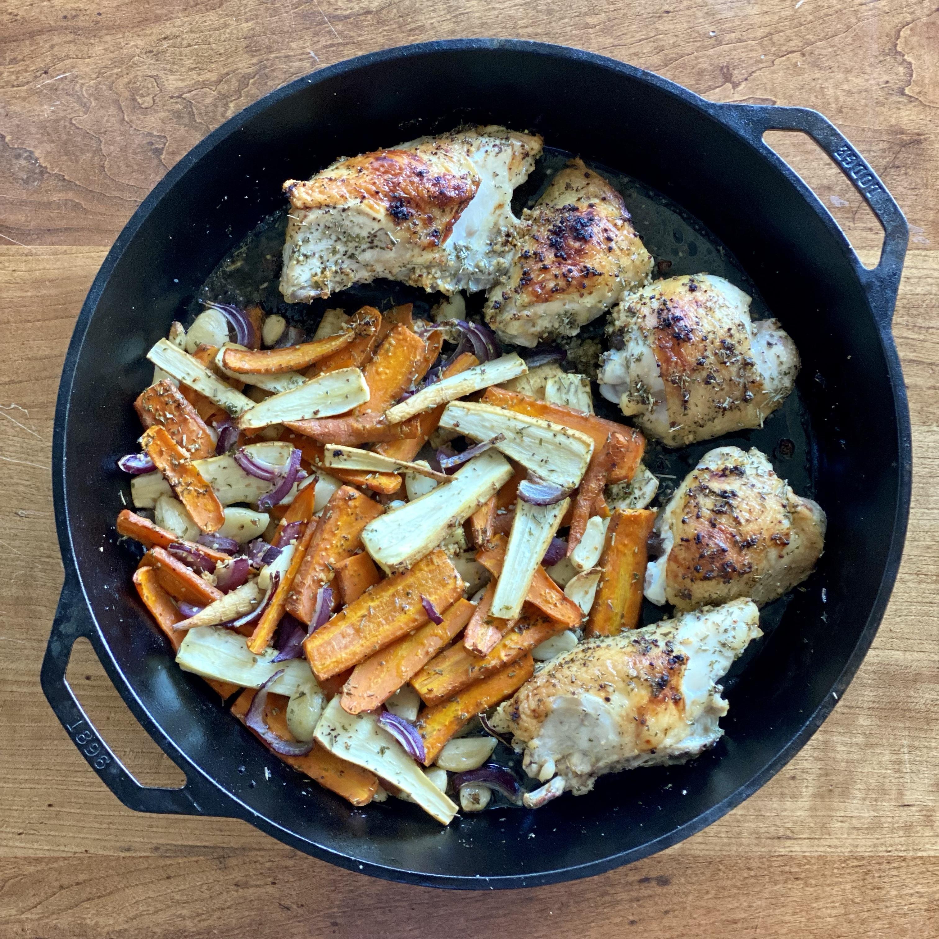 Roasted Garlic Chicken, Carrots & Parsnips